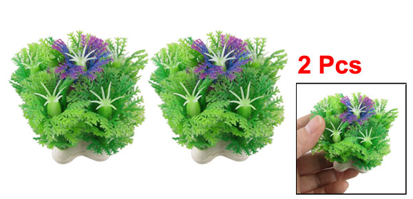 2 Pcs Simulated Green Purple Plastic Plant Aquarium Fish Tank Ornament 2.4