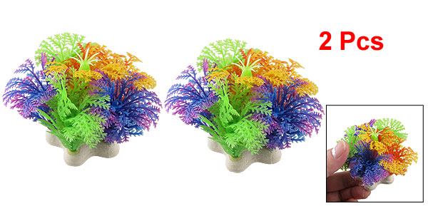 Aquarium Fish Tank Underwater Aquascaping Colorful Plastic Plant 2.1