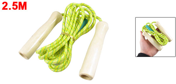 Sport Exercise Yellow Green Striped Band Fitness Skipping Jumping Rope 2.5M 8.2Ft