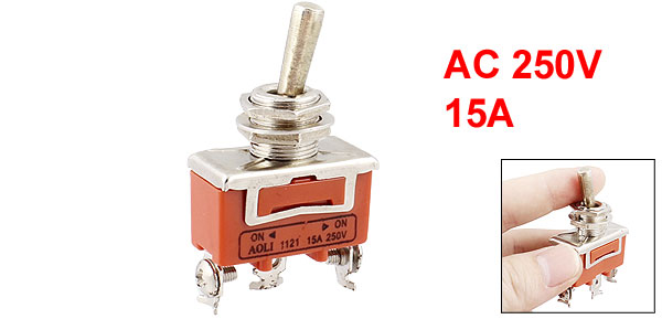 AC 250V 15A Amps ON/ON 2 Way SPDT Screw Terminals Toggle Switch