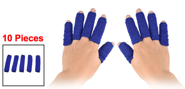 Set 10 Pieces Outdoor Sports Acrylic Elastic Finger Sleeves Support Guard Blue