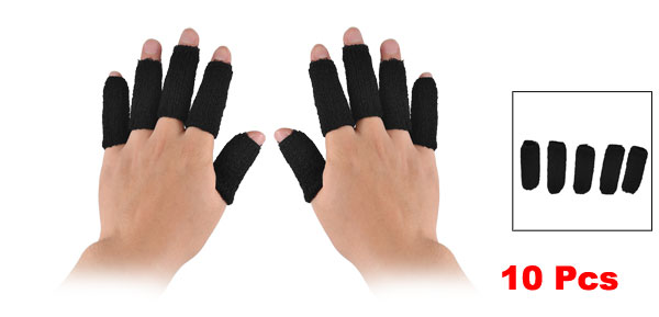 10 Pcs Basketball Volleyball Stretchy Finger Sleeves Support Wrap Protector Black