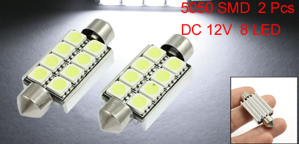 2 x 42mm Canbus Error Free White 8 5050 SMD LED Festoon Dome Lights