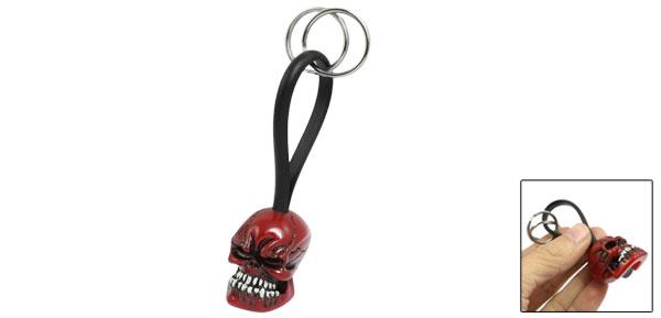 Resin Skull Head Pendant 2 Split Rings Keyring Key Chain Dark Red