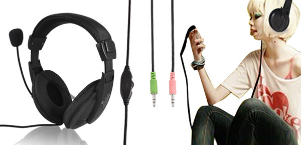 Black 3.5mm Headphone Stereo Headset Earphone w Mic for DJ MP3 MP4 PC