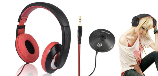 Black Red Kanen MC-780 Stereo Headphone with Omnidirectional MIC for PC MP3 MP4