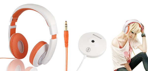 Orange White Kanen MC-780 Stereo Headphone with Omnidirectional MIC for PC MP3 MP4