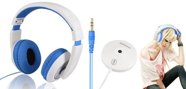 Blue White Kanen MC-780 Stereo Headphone with Omnidirectional MIC for PC MP3 MP4