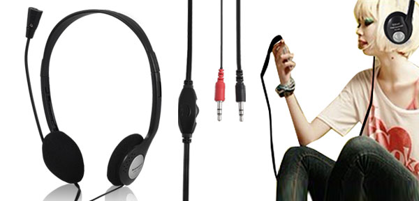 3.5mm Headphone Stereo Headset Earphone w Mic for DJ MP3 MP4 PC