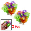 "2 Pcs Assorted Color Plastic Plant Ornament 2.3"" for Aquarium Fish Tank"