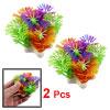 """2 Pcs Assorted Color Plastic Plant Ornament 2.3\"""" for Aquarium Fish Tank"""