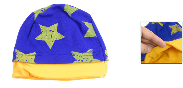 Kids Double Layer Stars Print Navy Blue Yellow Beanie Cap Winter Hat