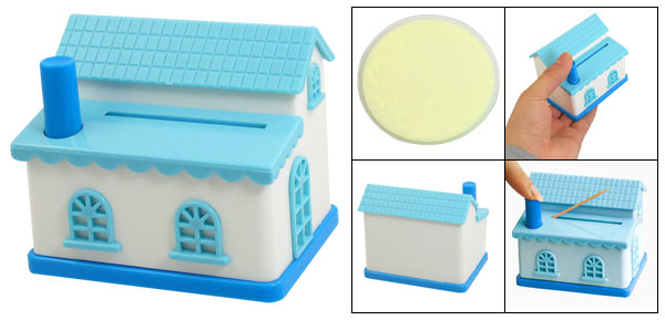 White Blue Plastic House Shaped Popup Automatic Toothpick Stand Holder