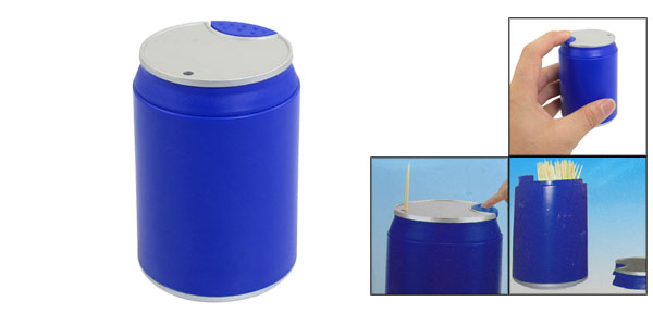 Pressed Blue Aluminum Cylindrical Shape Automatic Toothpick Holder