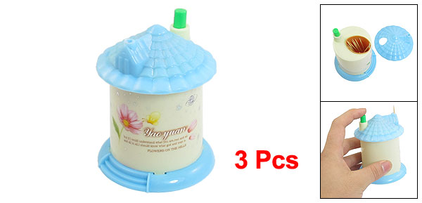 3Pcs Flower Pattern Plastic Housing Automatic Toothpick Holder Blue Beige