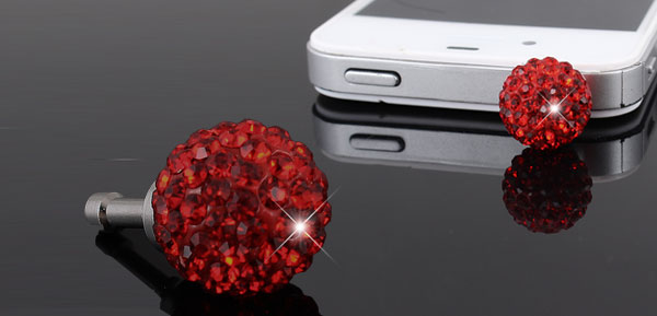 Bling Red Crystal 3.5mm Anti Dust Ear Cap Plug Jack for Cell Phone