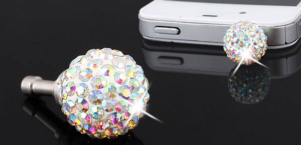 Bling Silver Tone Crystal 3.5mm Anti Dust Earphone Ear Cap for Phone