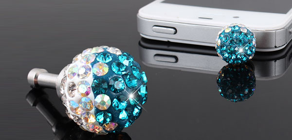 Glitter Blue Crystal 3.5mm Dust Proof Ear Cap Plug for Mobile Phone MP3