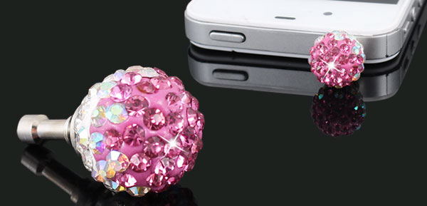 Bling Pink Crystal 3.5mm Anti Dust Earphone Ear Cap Plug for Laptop Mp4