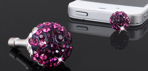 Bling Purple Crystal 3.5mm Ear Cap Dust Stopper Jack for Mp4 Laptop