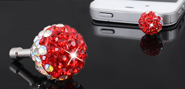 Bling Red Crystal 3.5mm Anti Dust Earphone Ear Cap Plug for Mobile Phone