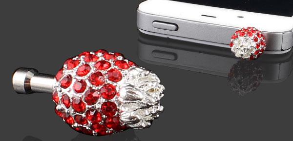 Bling Red Pineapple 3.5mm Earphone Jack Dust Stopper for Cell Phone
