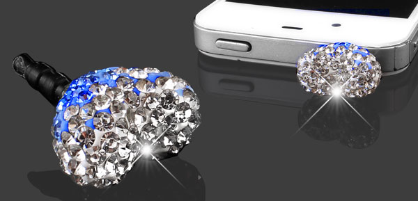 Bling Blue Heart 3.5mm Earphone Jack Anti Dust Stopper for Cell Phone