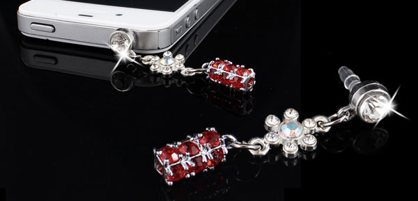 Dangle Red Crystal 3.5mm Anti Dust Earphone Cap Stopper for Mobilephone