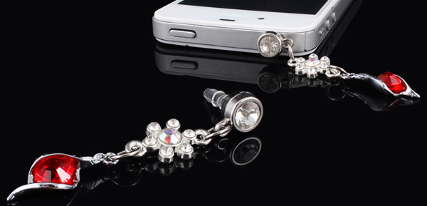 Red Bling Crystal 3.5mm Anti Dust Earphone Cap Stopper for Smartphone