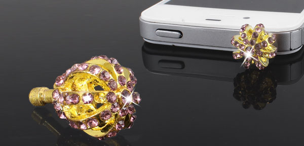Gold Tone Ball Crown 3.5mm Earphone Anti Dust Cap for Cell Phone