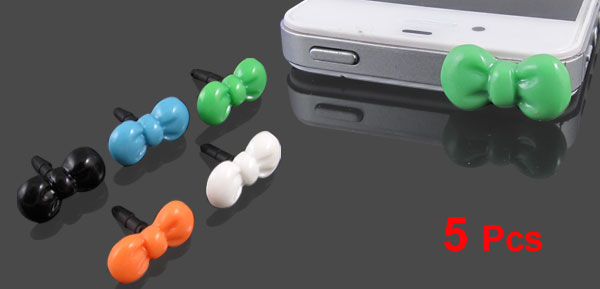 5 Pcs Bow 3.5mm Anti Dust Earphone Ear Cap Plug Stopper