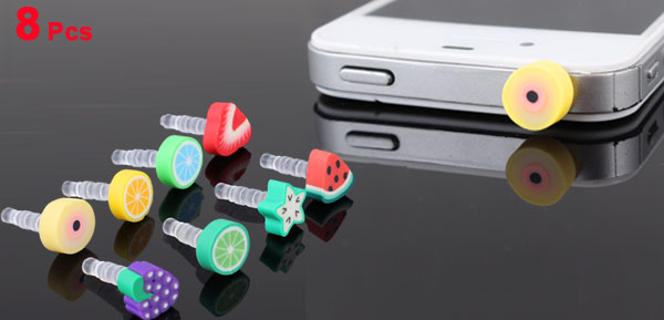 8 Pcs Fruit Decor 3.5mm Dust-proof Earphone Ear Cap Plug for iPhone HTC