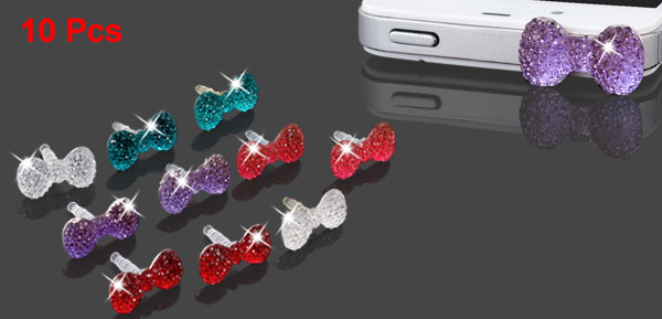 10 Pcs Bling Crystal Bow 3.5mm Anti Dust Earphone Ear Cap Plug for Cell Phone