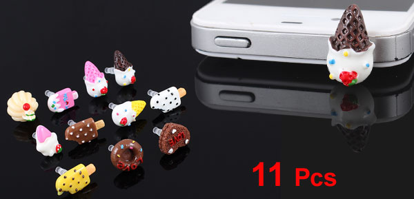 11 Pcs Ice Cream Bar 3.5mm Anti Dust Earphone Ear Cap Plug for Cell Phone