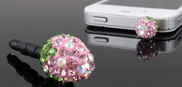 Glitter Pink Crystal Strawberry 3.5mm Dust Proof Ear Cap for iPhone HTC