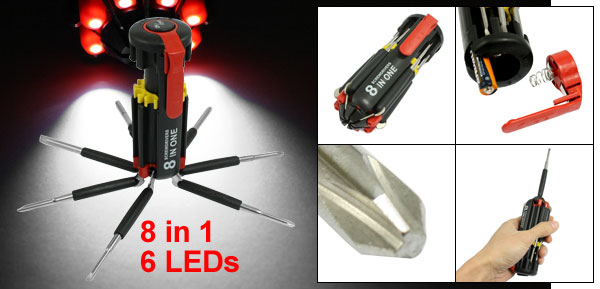 8 in 1 Plastic Housing 6 LED Torch Phillips Slotted Round Bit Multi Screwdriver