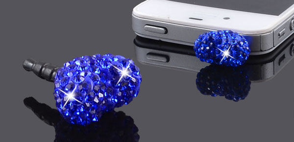 Blue Heart 3.5mm Earphone Ear Cap Anti Dust Cover for Cell Phone