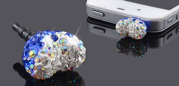 Blue White Crystals Heart 3.5mm Earphone Cap Dust Proof for Phone