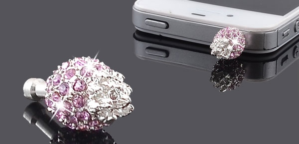 Pink Crystal Pineapple 3.5mm Earphone Cap Anti Dust Cover for Cell Phone