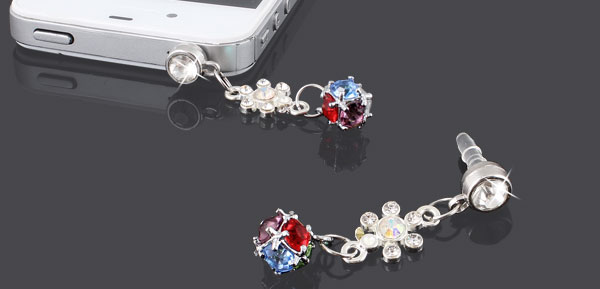 Colorful Crystals 3.5mm Earphone Ear Cap Dust Cover for Smartphone Mp4