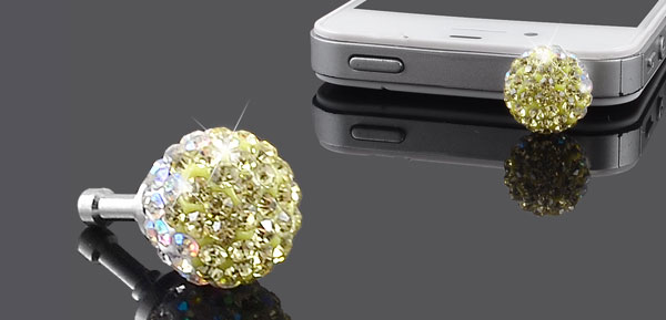 Yellow White Crystals Ball 3.5mm Anti Dust Earphone Cap