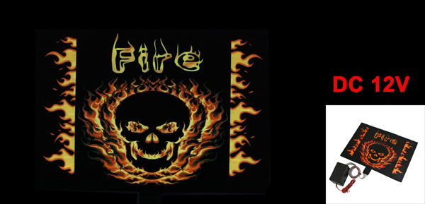 Flame Skull Print Sound Music Activated Flash Light Car Window Sticker Sign