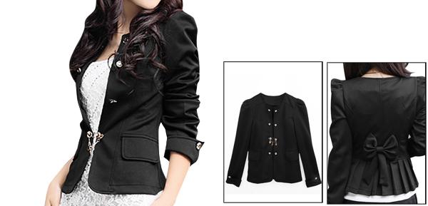 Lady Black Long Sleeve Front Opening Butterfly Knot Decor Back Elegant Blazer L