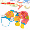 Dots Pattern Pompom Earflap Winter Beanie Hat Scraf Yellow Blue f...