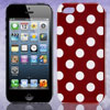 White Polka Dot Dark Red Plastic TPU Phone Case Cover for Apple i...