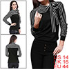 Allegra K Ladies Black Stripes Pattern Sleeve Stretch Fall Casual Shirt L