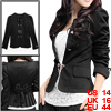 Lady Black Long Sleeve Front Opening Butterfly Knot Decor Back El...