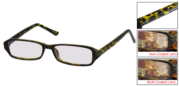 Unisex Leopard Printed Full Frame Rectangle Lens Plain Glasses
