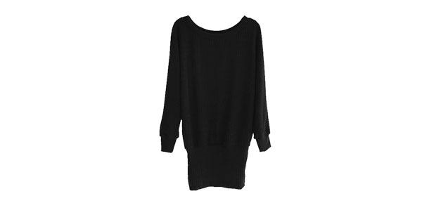 Women Scoop Neck Dolman Sleeves Knitted Blouson Dress Black S