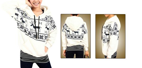 Women Deer Snowflakes Pattern Black White Hooded S